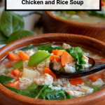Immune Boosting Chicken and Rice Soup is a warm and therapeutic cozy cold and flu fighting bowl of deliciousness.#homeremedy #coldandflu #soup #wellness #chicken #TCM #easyrecipe #glutenfree / https://www.hwcmagazine.com