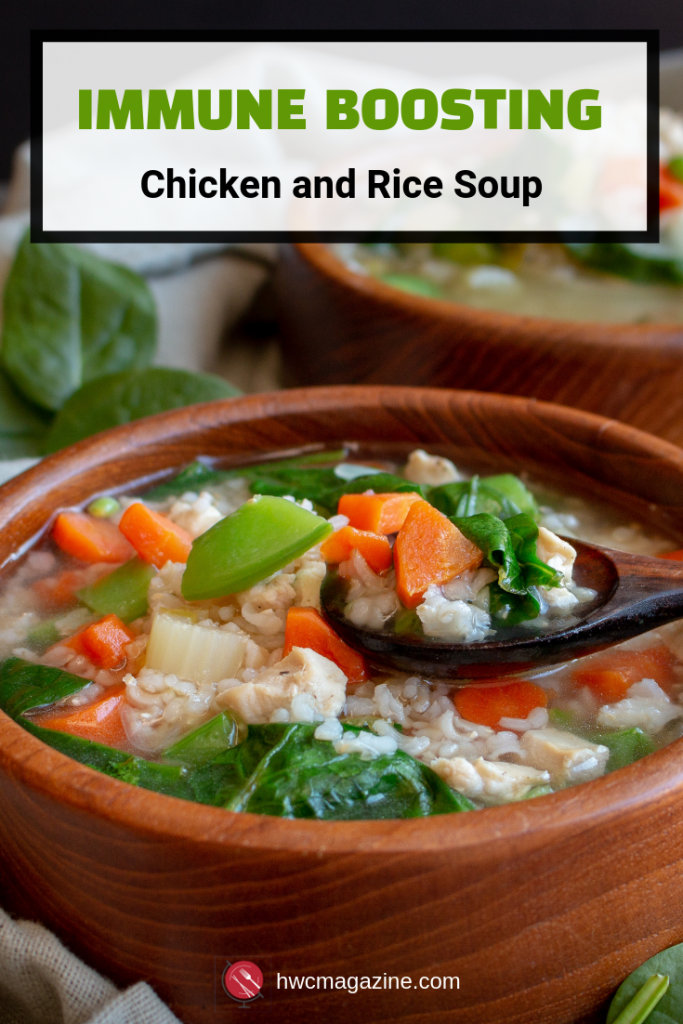 Immune Boosting Chicken and Rice Soup is a warm and therapeutic cozy cold and flu fighting bowl of deliciousness. #homeremedy #coldandflu #soup #wellness #chicken #TCM #easyrecipe #glutenfree / https://www.hwcmagazine.com
