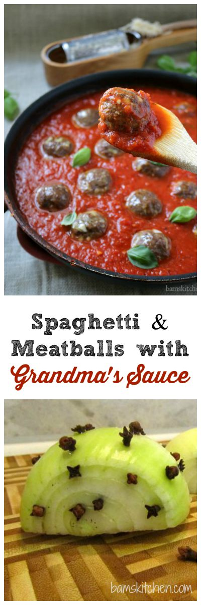 Spaghetti and Meatballs with Grandma's Sauce / http://bamskitchen.com