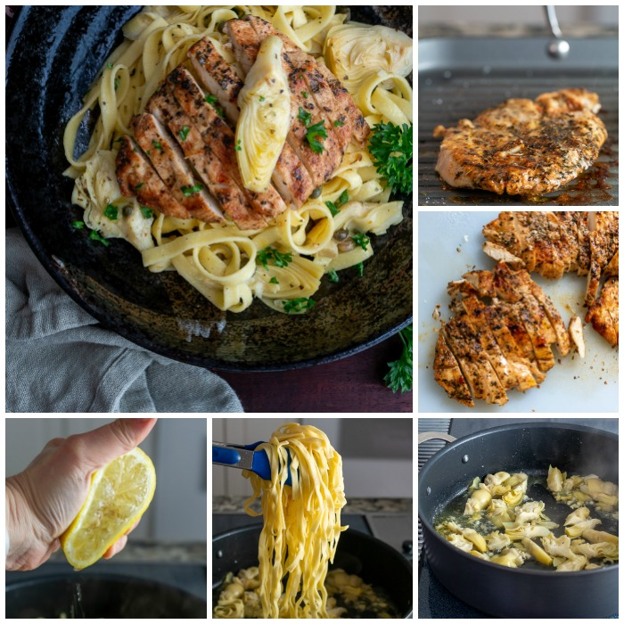 collage of six photos showing step by step process. 1) grilling chicken 2) slice chicken 3) Artichoke sauce 4) boiled fettuccine 5) squeeze of fresh lemon 6) completed Lemon Artichoke Chicken Pasta dish