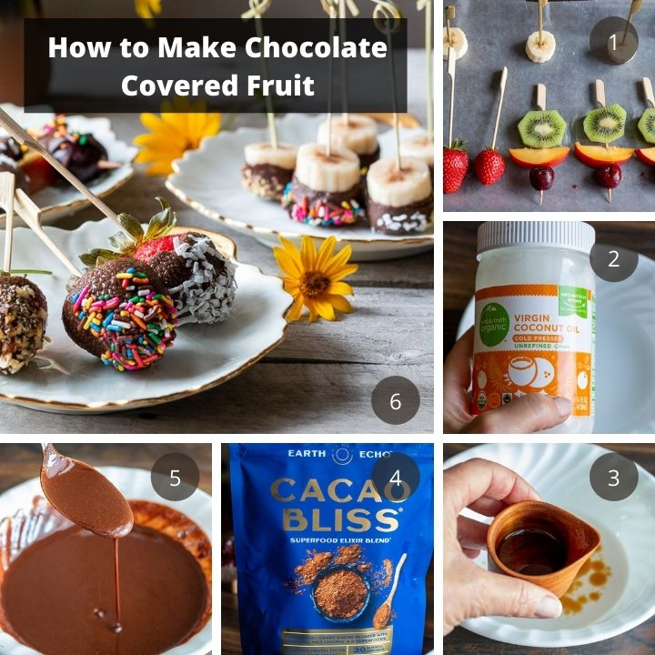 Step by step process on how to make chocolate covered frozen fruit.