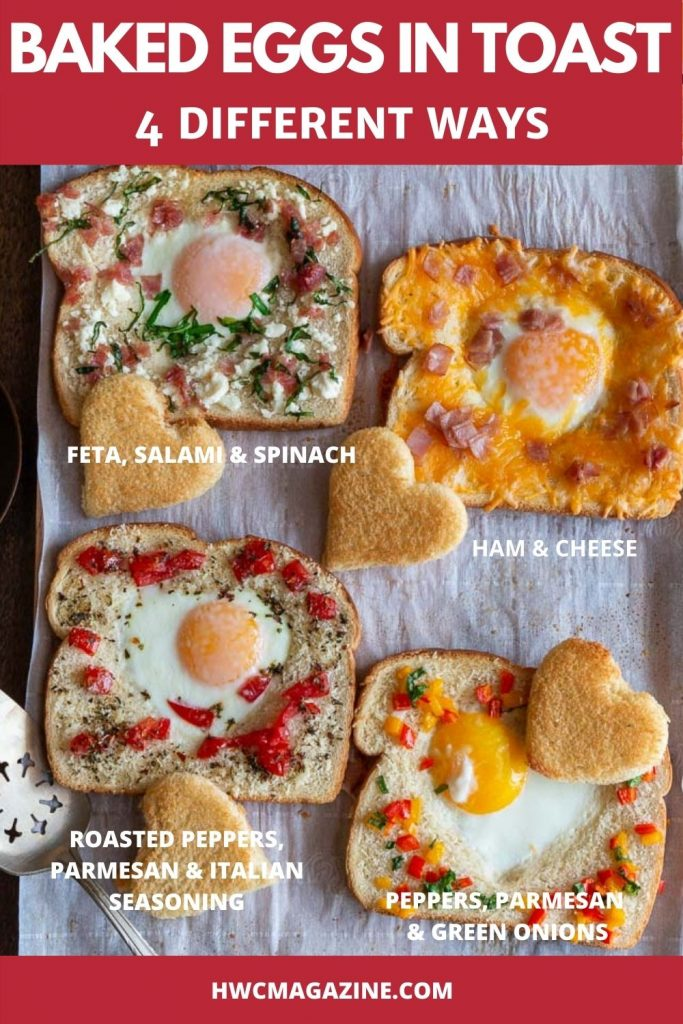 4 different baked eggs in toast with different toppings.