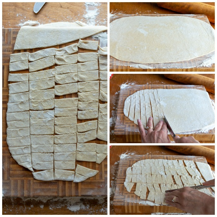 Showing how to cut the slider noodles into strips.