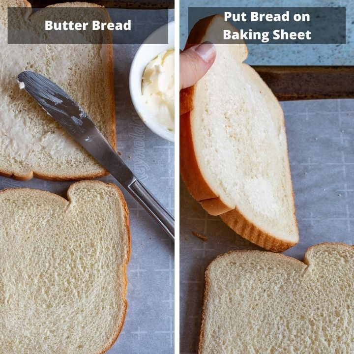 Buttering the bread slices.