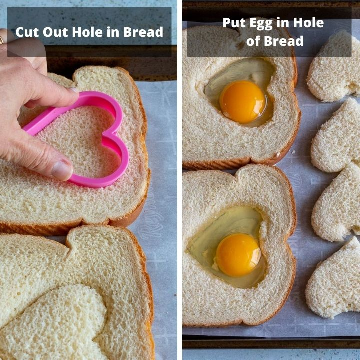 Cutting holes in bread and putting eggs in the bread.