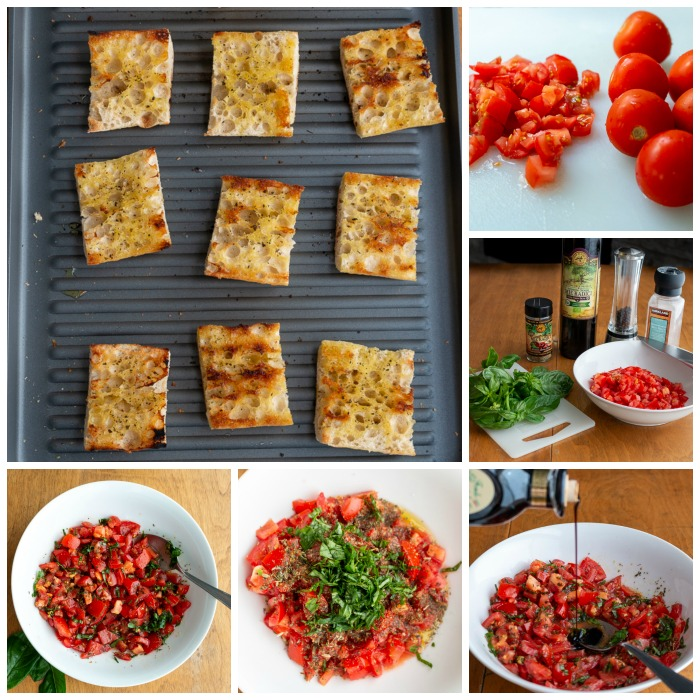 Step by step how to make bruschetta collage.