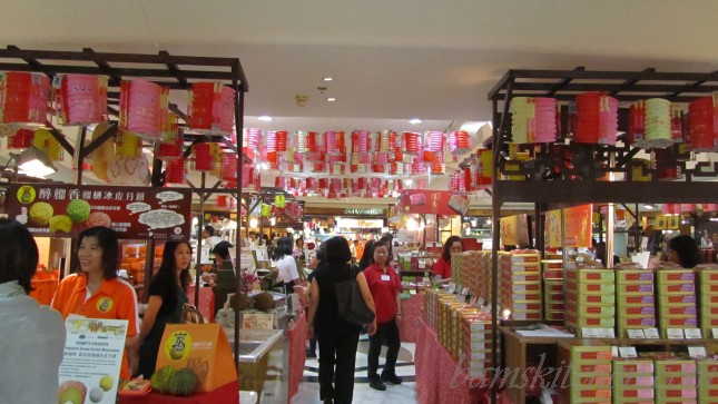 Busy B1 level of Hong Kong IFC's City Super Market with all the mooncakes in fancy boxes.