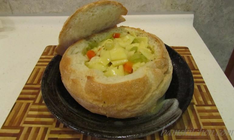 Bam's Bread Bowl Chicken Noodle Soup