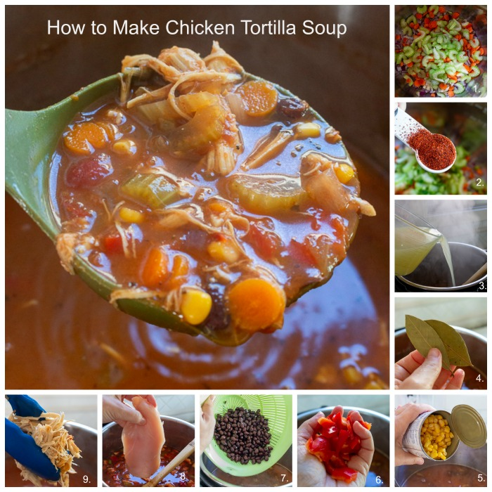 9 step by step process to make chicken tortilla soup