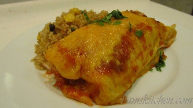 Tex Mex Chicken Enchiladas with Spanish Fried Rice