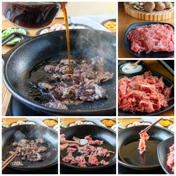 5 step process for browning meat with sugar and then adding sukiyaki broth to the iron pot.