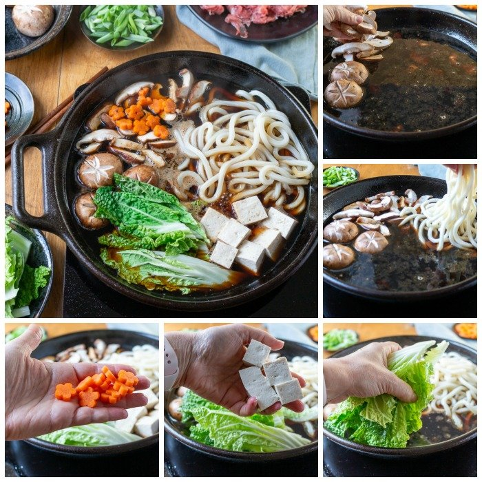 Step by Step adding all the ingredients into the sukiyaki pot.