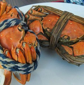 Male and female cooked hairy crabs on a white plate, tied up.