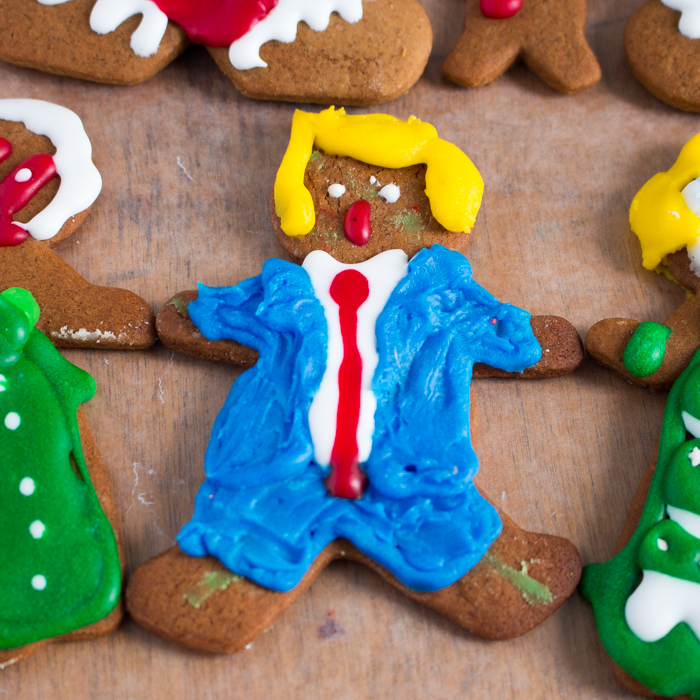Gingerbread boy decorated as Donald Trump