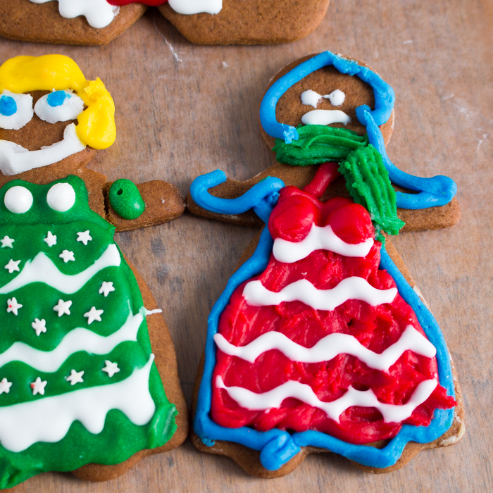 Gingerbread girl in red and white dress
