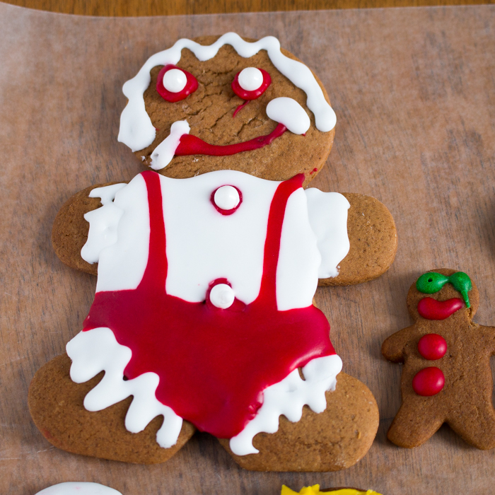 Big gingerbread boy cookie decorated in red and white