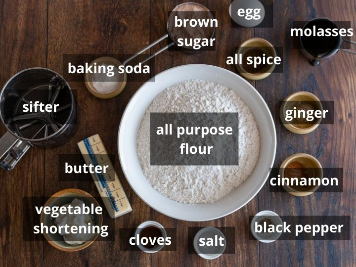 Ingredients for classic old fashion gingerbread biscuits.