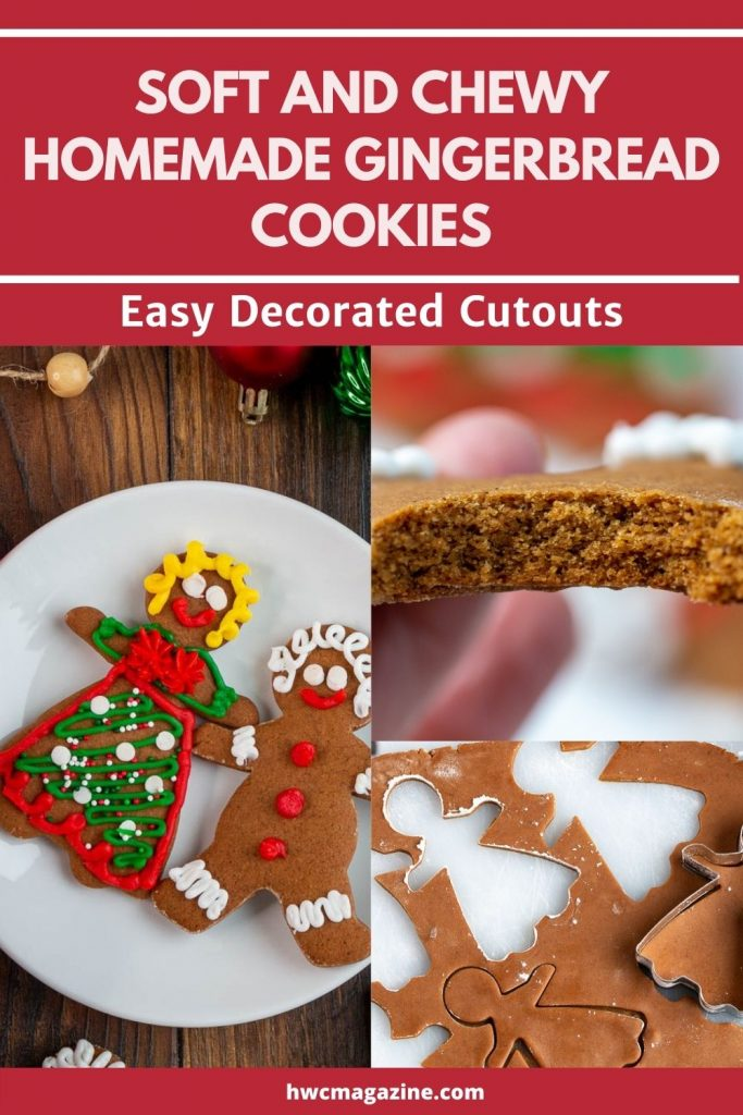 Easy decorated gingerbread cutout cookies and a bite shot.