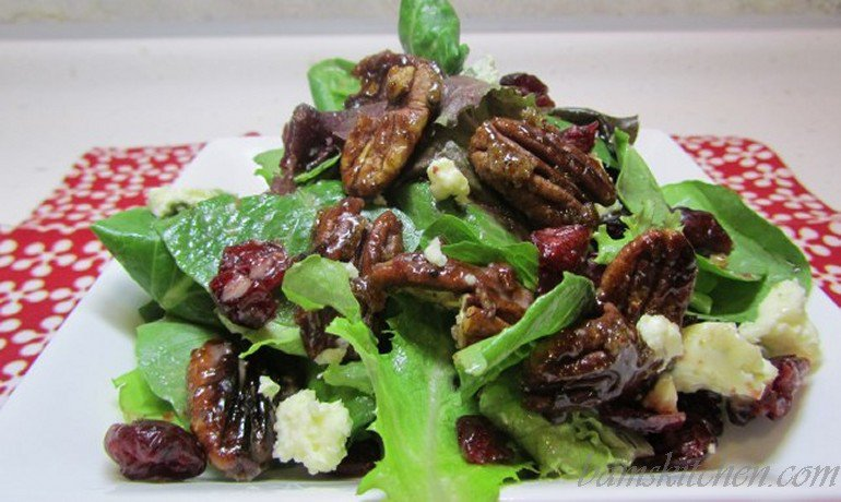 Dried cranberries sugar glazed pecan and holiday mixed greens