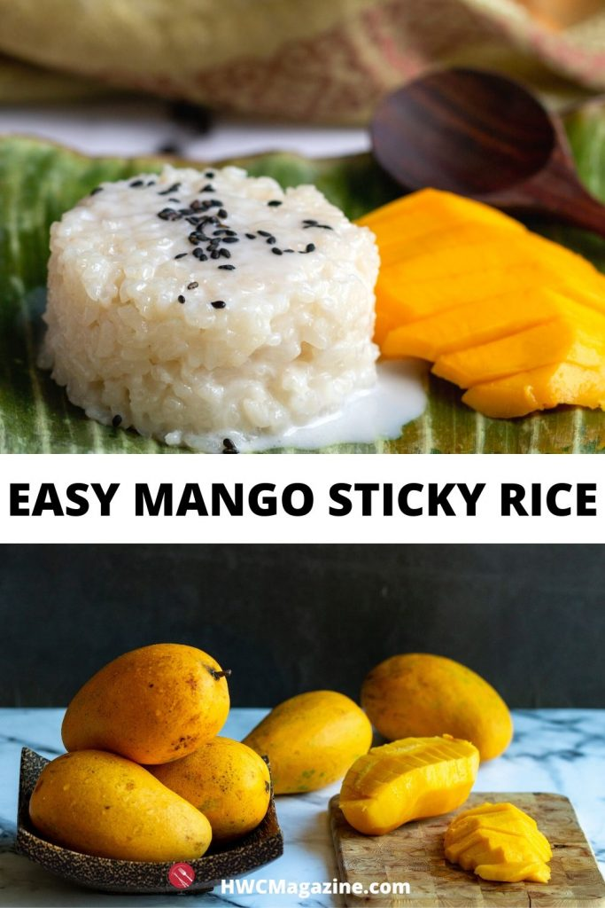 Top is mango sticky rice on a banana leaf and bottom photo is fresh mangoes on a cutting board.