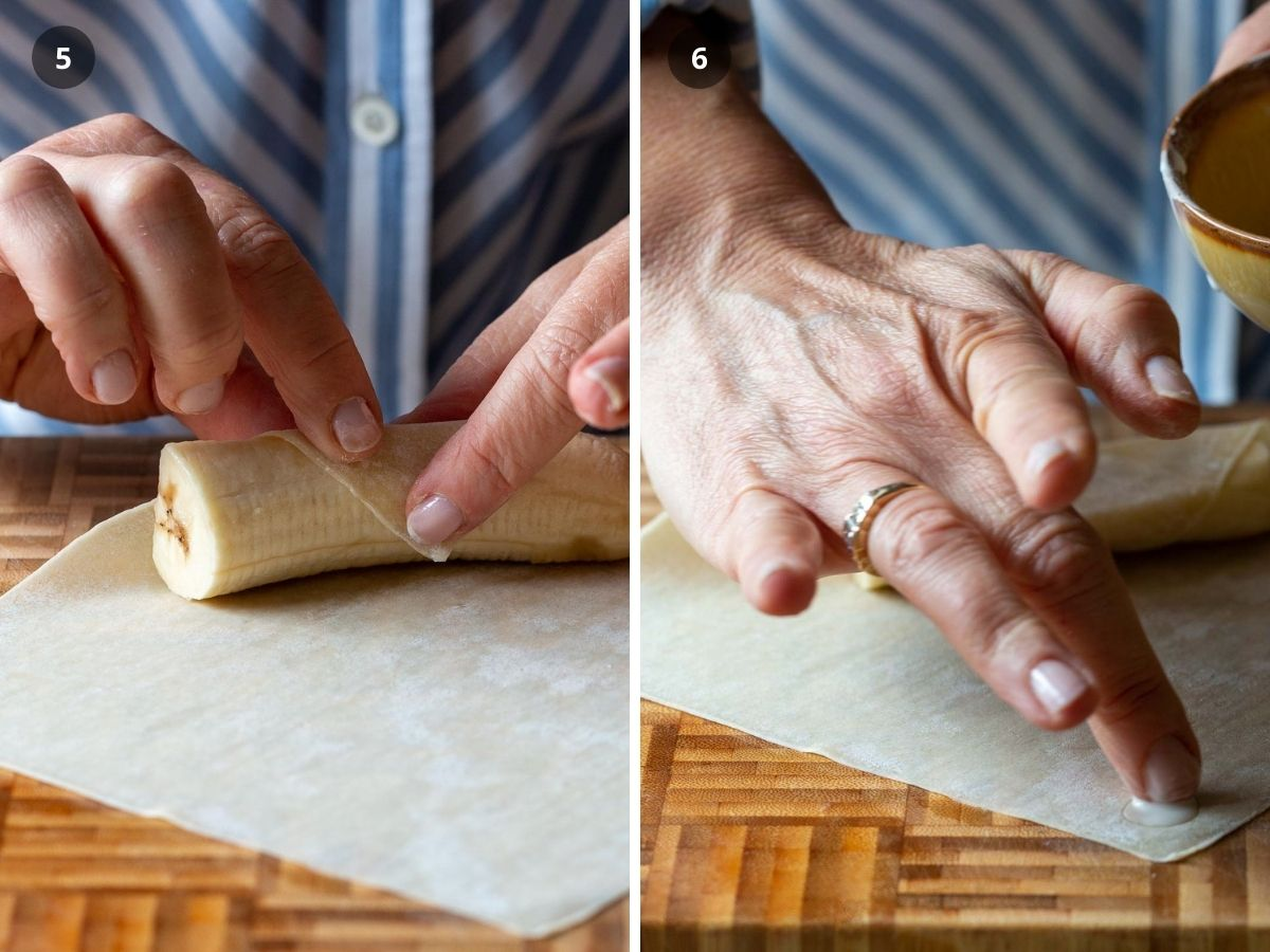 Banana placed in wrapper and cornstarch paste applied.