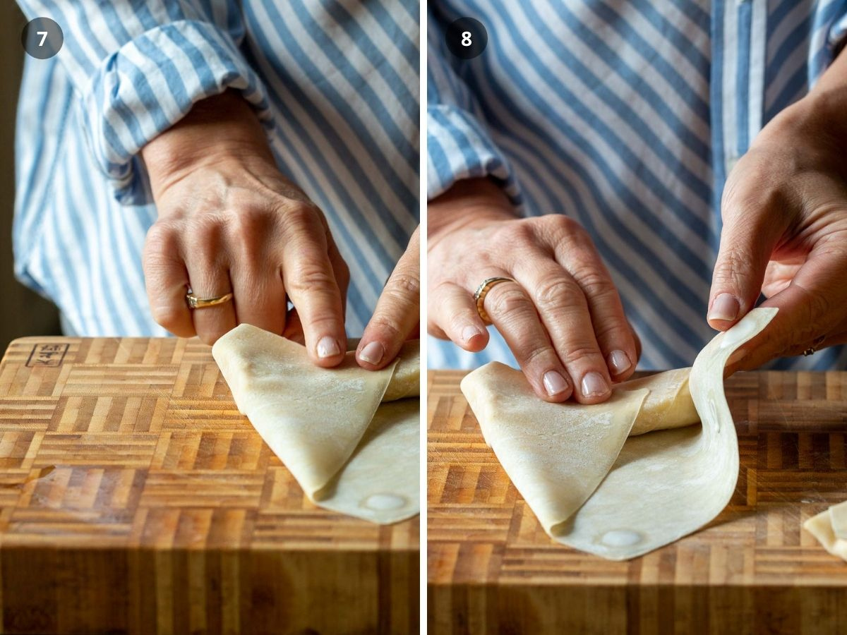 Fold sides over banana.