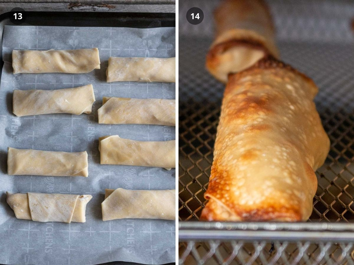 Banana spring rolls on a baking sheet and spring rolls in the air fryer cooking.