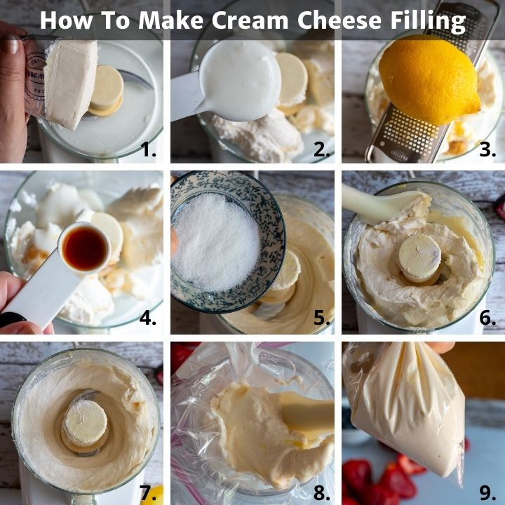 Step by step how to make lemony cream cheese filling for strawberries.