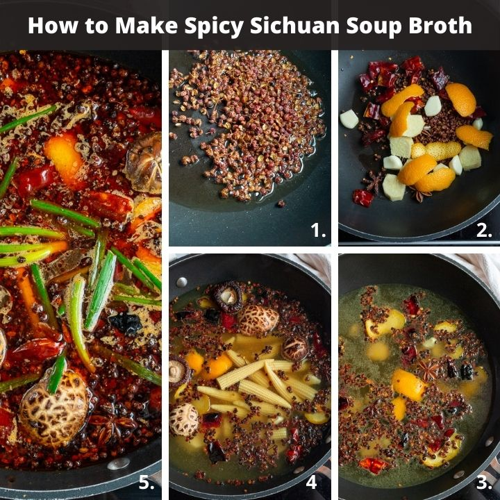 Step by step how to make spicy Sichuan hot pot broth.