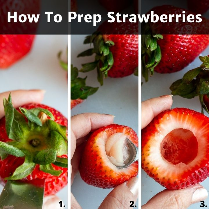 Step by step bow to prep strawberries.