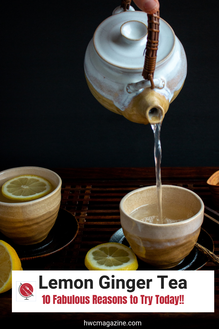 Tranquil Lemon Ginger Tea is the perfect delicious detox tea to help balance your digestive system, boost your immunity and help relieve stress. (Gluten-Free, Vegan, Clean Eating) #tea #detox #cleanse #cleaneating #healthyliving #drinks #beverage #Easyrecipe #lemon #ginger #hwcmagazine / https://www.hwcmagazine.com