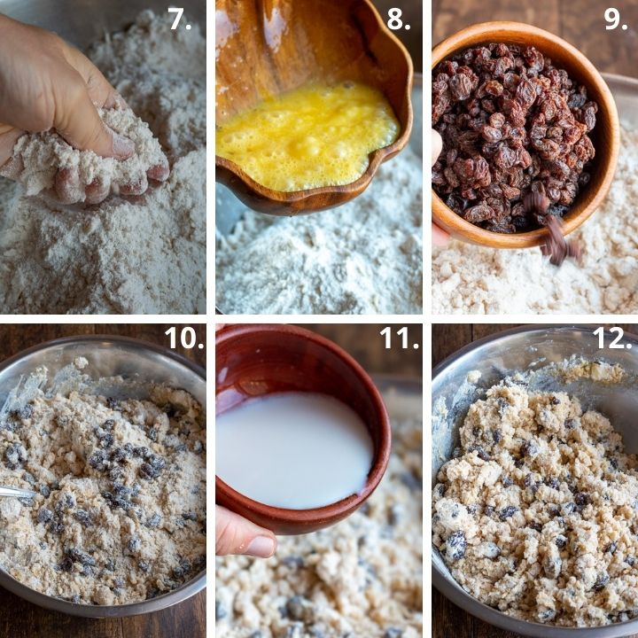 Step 7 to 12 showing adding the rest of the ingredients like eggs, raisins and milk.