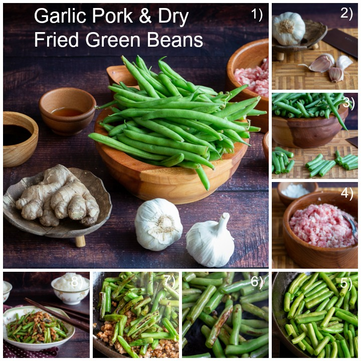 Step by Step how to make Garlic Pork and Dry Fried Green Beans.
