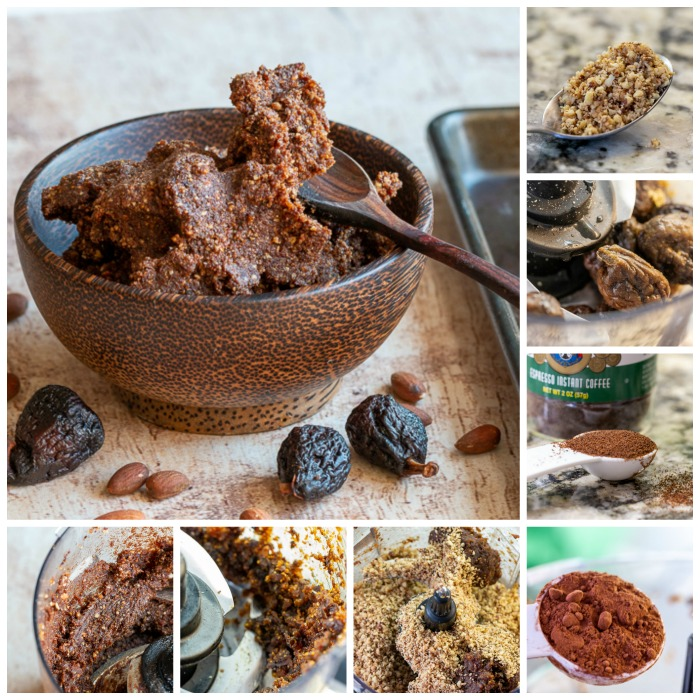 Step by Step photo on how to prepare the chocolate espresso fig balls in a food processor.