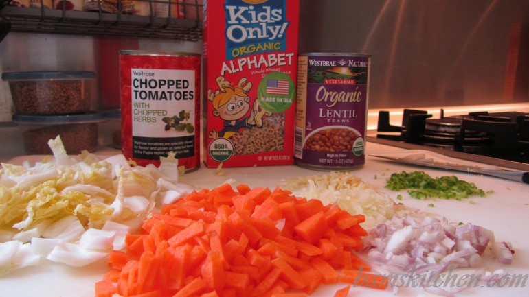 All the ingredients chopped up and ready to go into the soup.