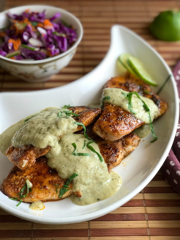 Long photo of tomatillo key lime chicken sizzle