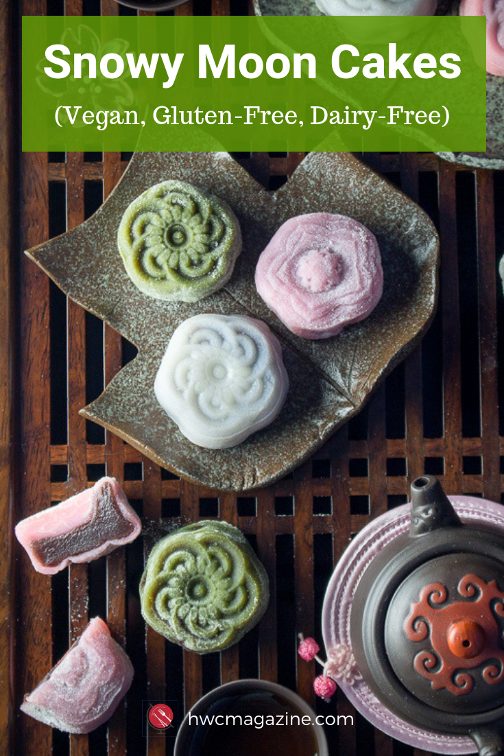 Homemade Snowy Moon Cakes are delicious NO-BAKE moon shaped dessert treats. Perfect for sharing over Mid-Autumn Festival with chewy tender mochi like skin and stuffed with sweet red bean paste.#mooncakes #midautumnfestival #chinese #sweettreat #dessert #dimsum #glutenfree #dairyfree #vegan/ https://www.hwcmagazine.com