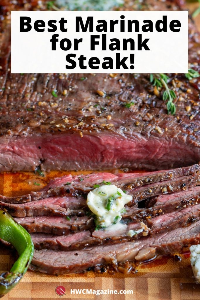 grilled flank steak cooked to perfection and cut into thin slices on a wooden cutting board.