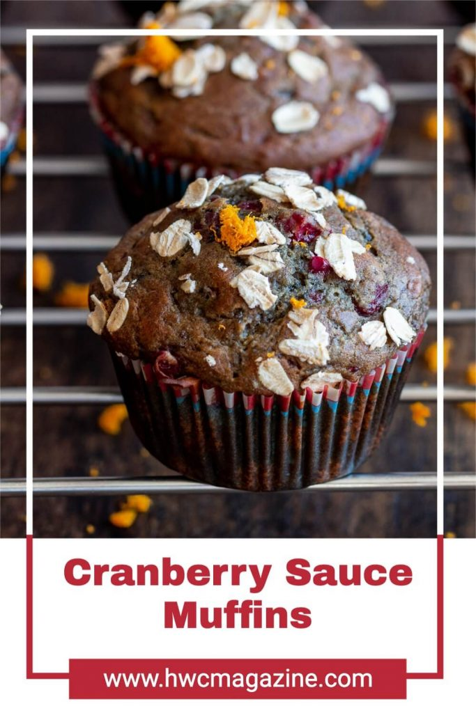 Cranberry Sauce muffins on a rack date sweetened and dairy free.