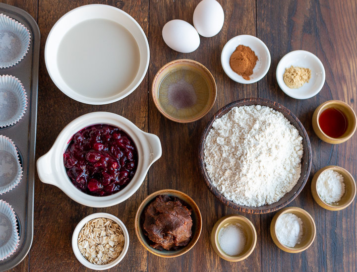 Ingredients for muffins laid out on table.