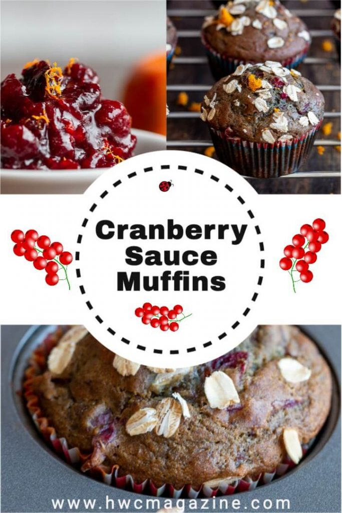 Cranberry muffins with leftover cranberry sauce.