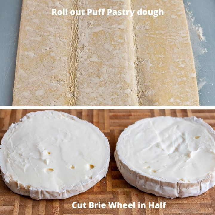Roll out pastry dough and cut brie in half.