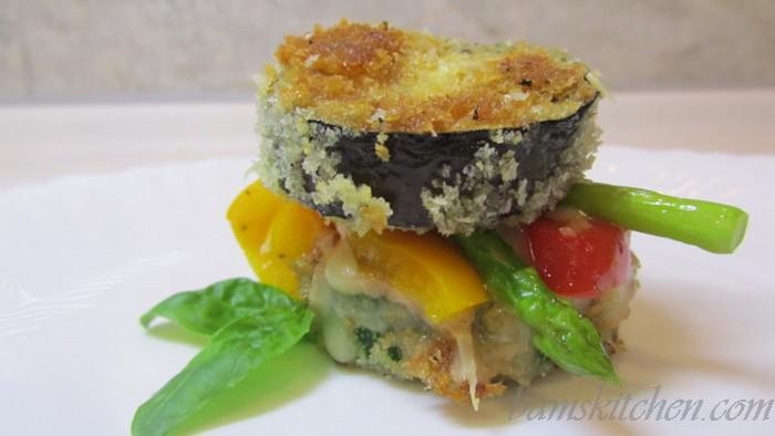 Shake and bake vegetable stack