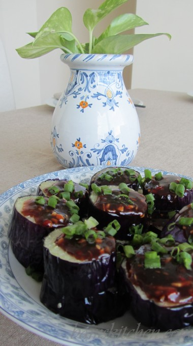 Asian Eggplant topped off with sliced chives.