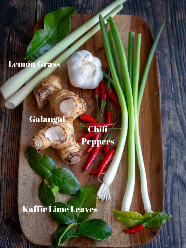 Diagram showing what lemongrass, kaffir lime leaves, galangal and chili peppers look like.