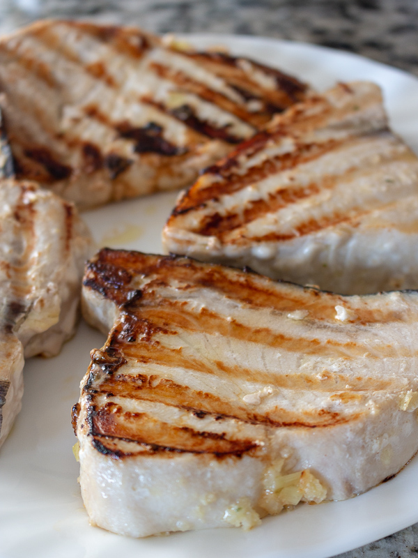 Swordfish just taken off the grill with beautiful grill marks