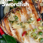 Tropical Thai Swordfish is a mouthwatering succulent grilled fish with lemongrass, kaffir lime leaves, galangal, chili and Asian pear. (LOWER CARB, GLUTEN-FREE) #fish #seafood #thai #grilling #summertime #lowcarb #glutenfree #easyrecipe #eattheworld #asianrecipe / https://www.hwcmagazine.com
