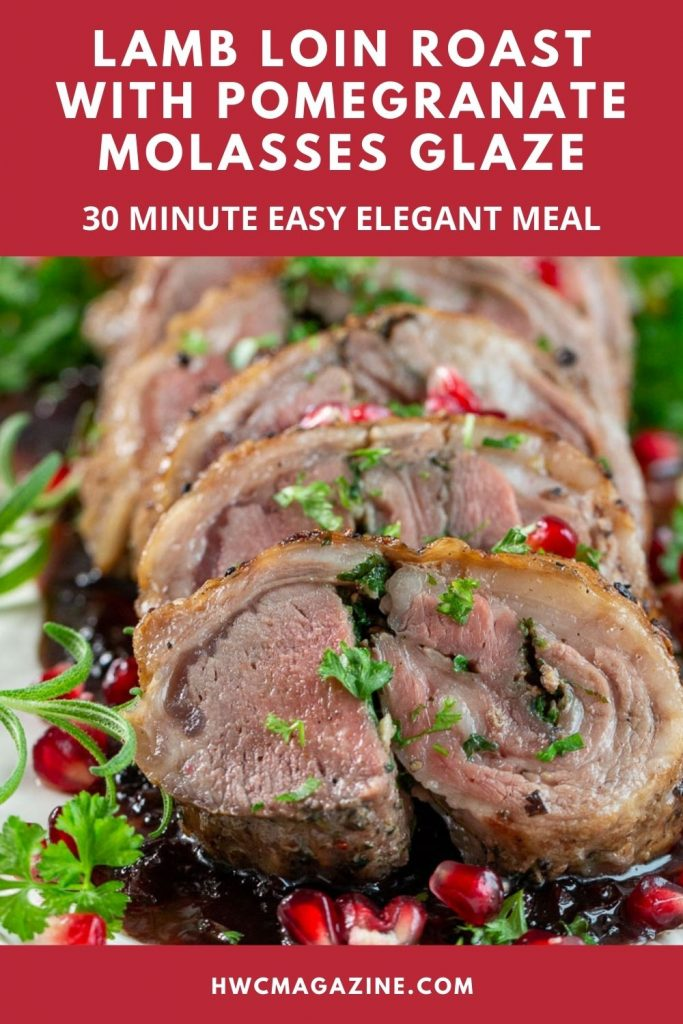 Elegant roasted boneless lamb loin with pomegranate glaze.