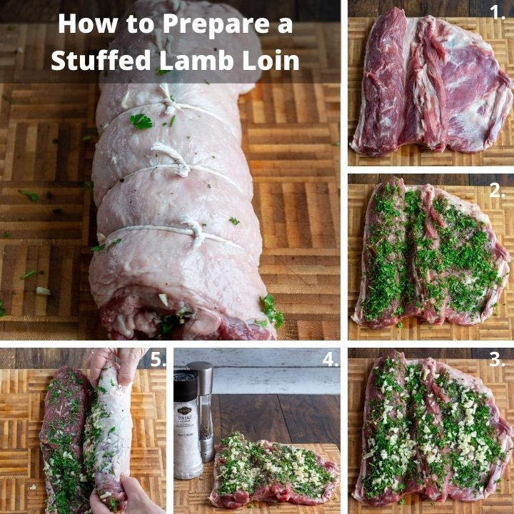 Step by step how to prepare a stuffed lamb loin.