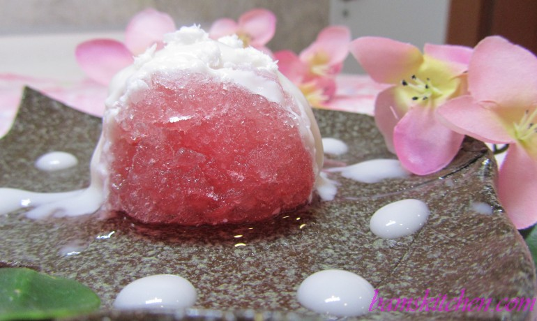 Sakura Grenadine Granita with Coconut Cream